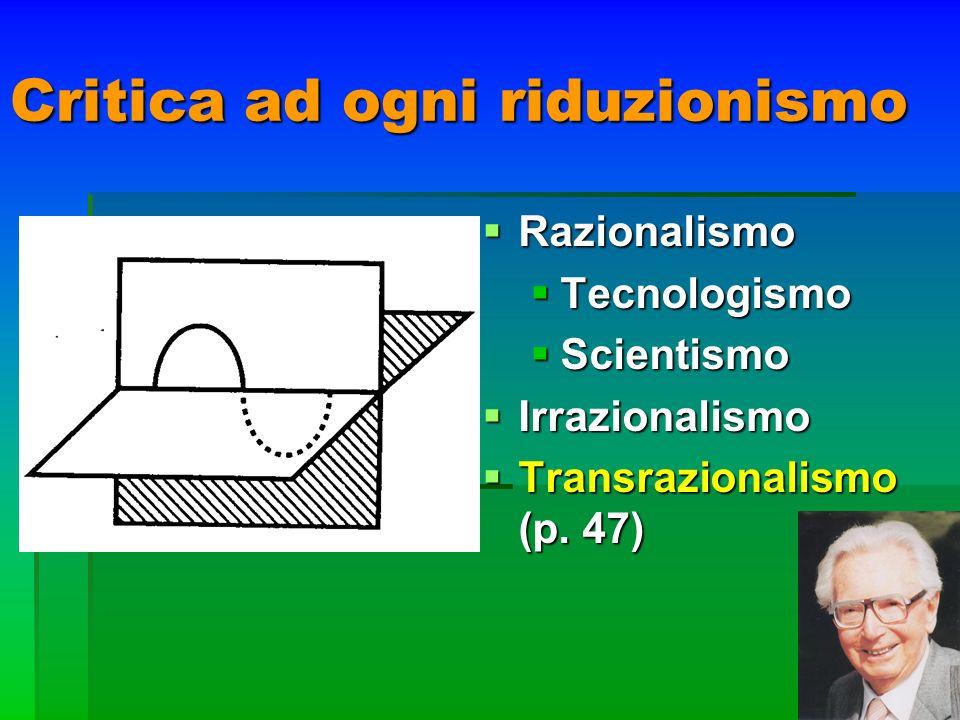 Critica ad ogni riduzionismo Razionalismo Razionalismo Tecnologismo Tecnologismo Scientismo Scientismo Irrazionalismo Irrazionalismo Transrazionalismo