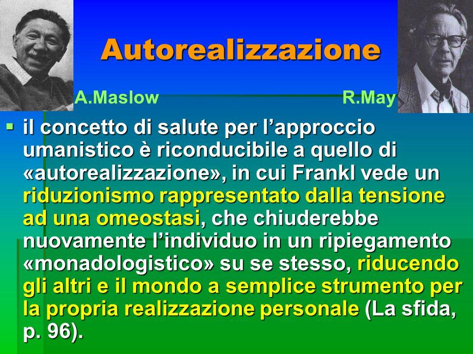 Autorealizzazione il concetto di salute per lapproccio umanistico è riconducibile a quello di «autorealizzazione», in cui Frankl vede un riduzionismo