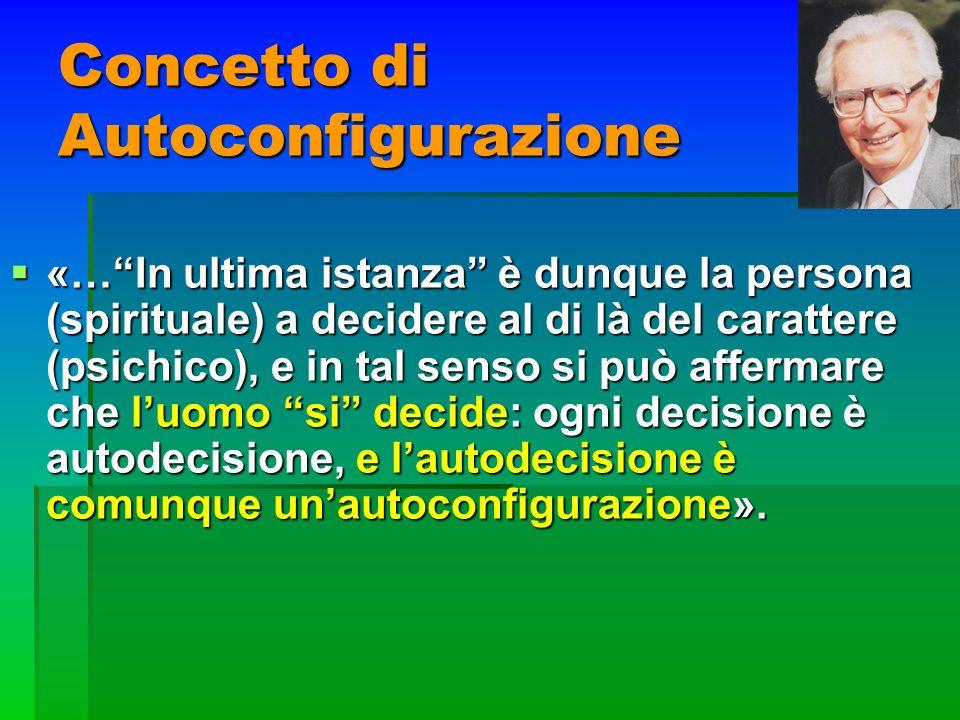 Concetto di Autoconfigurazione «…In ultima istanza è dunque la persona (spirituale) a decidere al di là del carattere (psichico), e in tal senso si pu