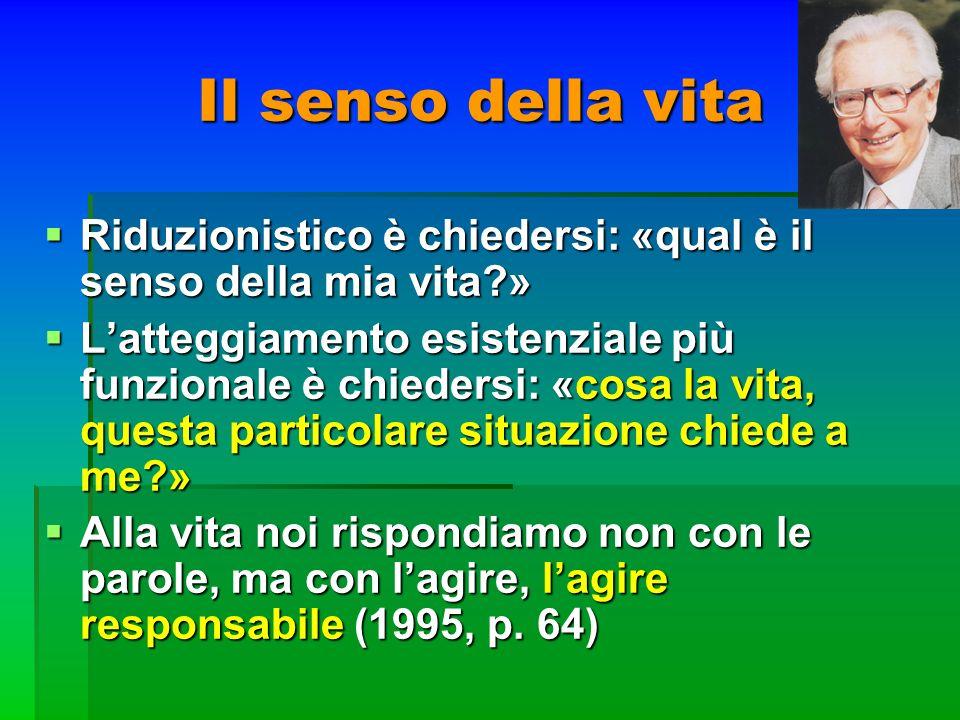 Il senso della vita Riduzionistico è chiedersi: «qual è il senso della mia vita?» Riduzionistico è chiedersi: «qual è il senso della mia vita?» Latteg