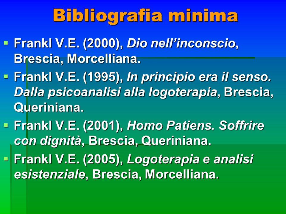 Bibliografia minima Frankl V.E. (2000), Dio nellinconscio, Brescia, Morcelliana. Frankl V.E. (2000), Dio nellinconscio, Brescia, Morcelliana. Frankl V
