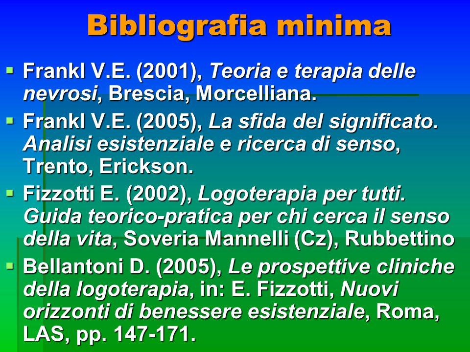 Bibliografia minima Frankl V.E. (2001), Teoria e terapia delle nevrosi, Brescia, Morcelliana. Frankl V.E. (2001), Teoria e terapia delle nevrosi, Bres