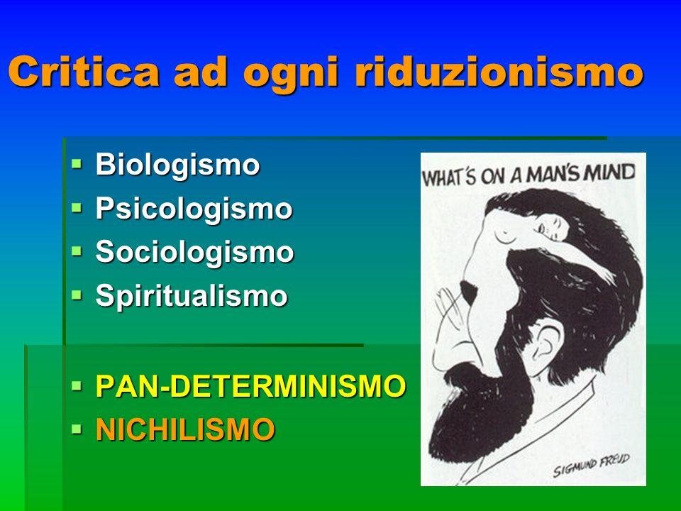 Critica ad ogni riduzionismo Biologismo Biologismo Psicologismo Psicologismo Sociologismo Sociologismo Spiritualismo Spiritualismo PAN-DETERMINISMO PA