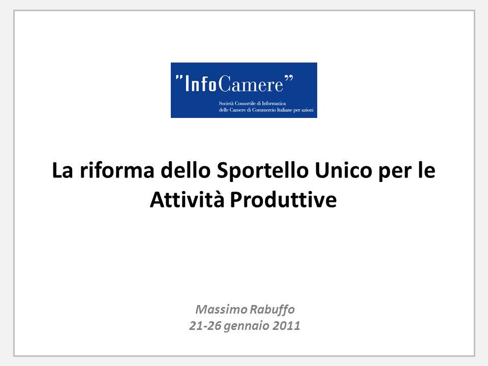 La riforma dello Sportello Unico per le Attività Produttive Massimo Rabuffo 21-26 gennaio 2011
