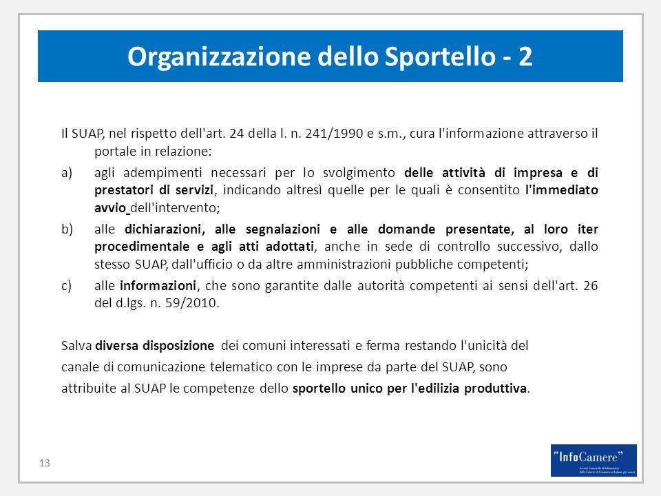 13 Organizzazione dello Sportello - 2 13 Il SUAP, nel rispetto dell'art. 24 della l. n. 241/1990 e s.m., cura l'informazione attraverso il portale in
