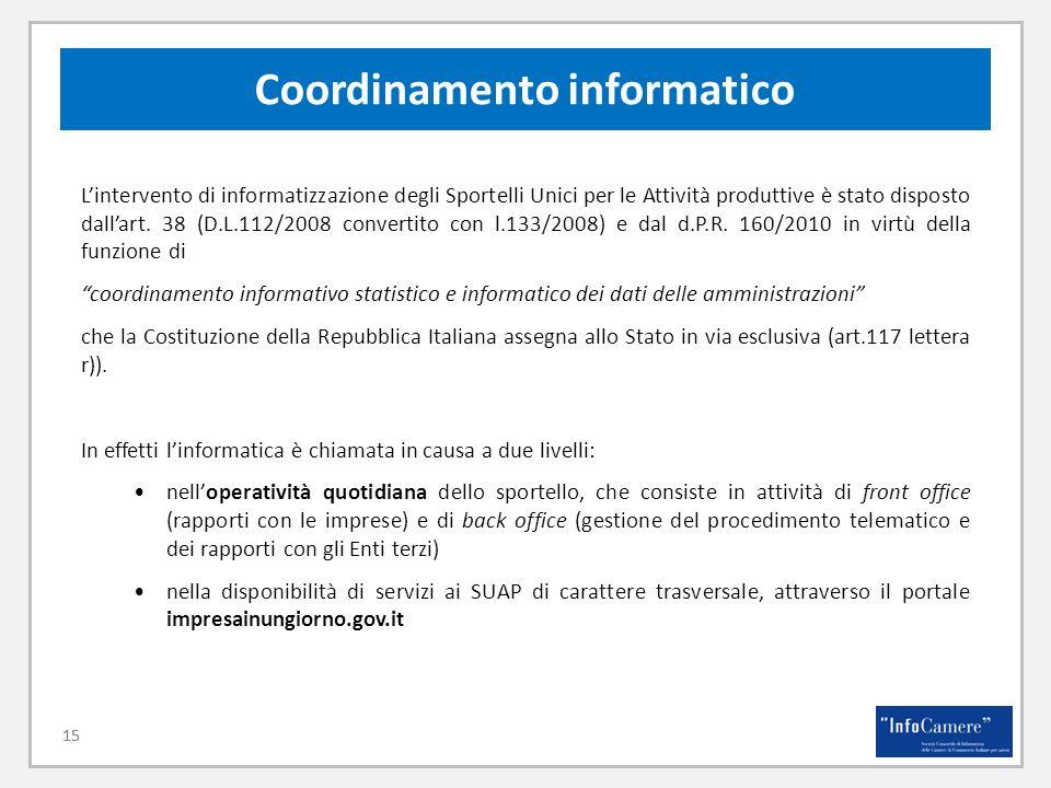 15 Coordinamento informatico 15 Lintervento di informatizzazione degli Sportelli Unici per le Attività produttive è stato disposto dallart. 38 (D.L.11