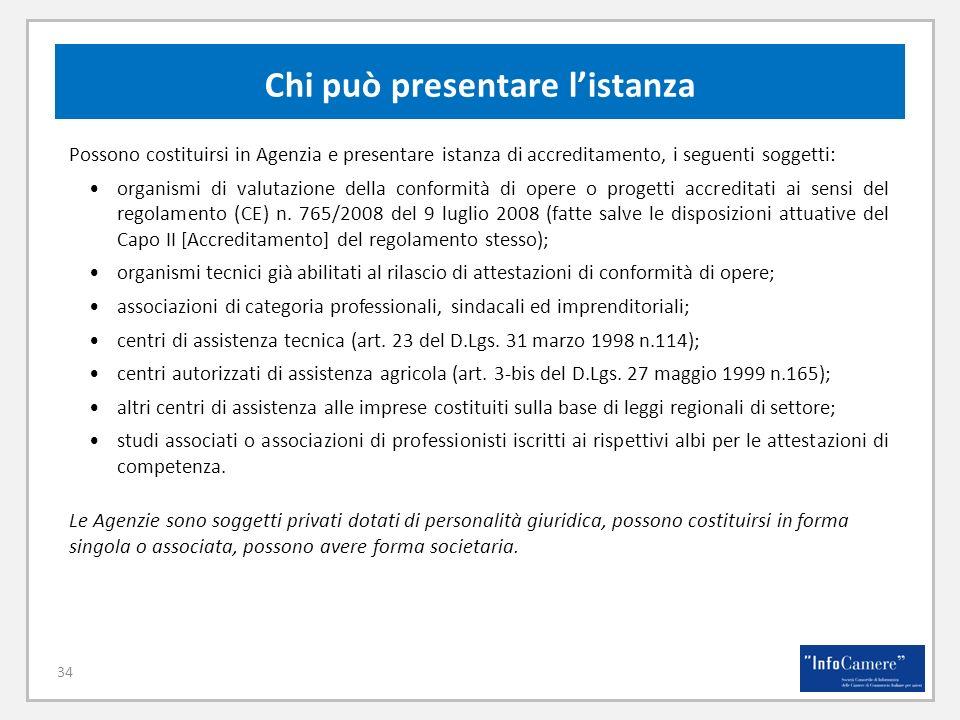 34 Possono costituirsi in Agenzia e presentare istanza di accreditamento, i seguenti soggetti: organismi di valutazione della conformità di opere o progetti accreditati ai sensi del regolamento (CE) n.