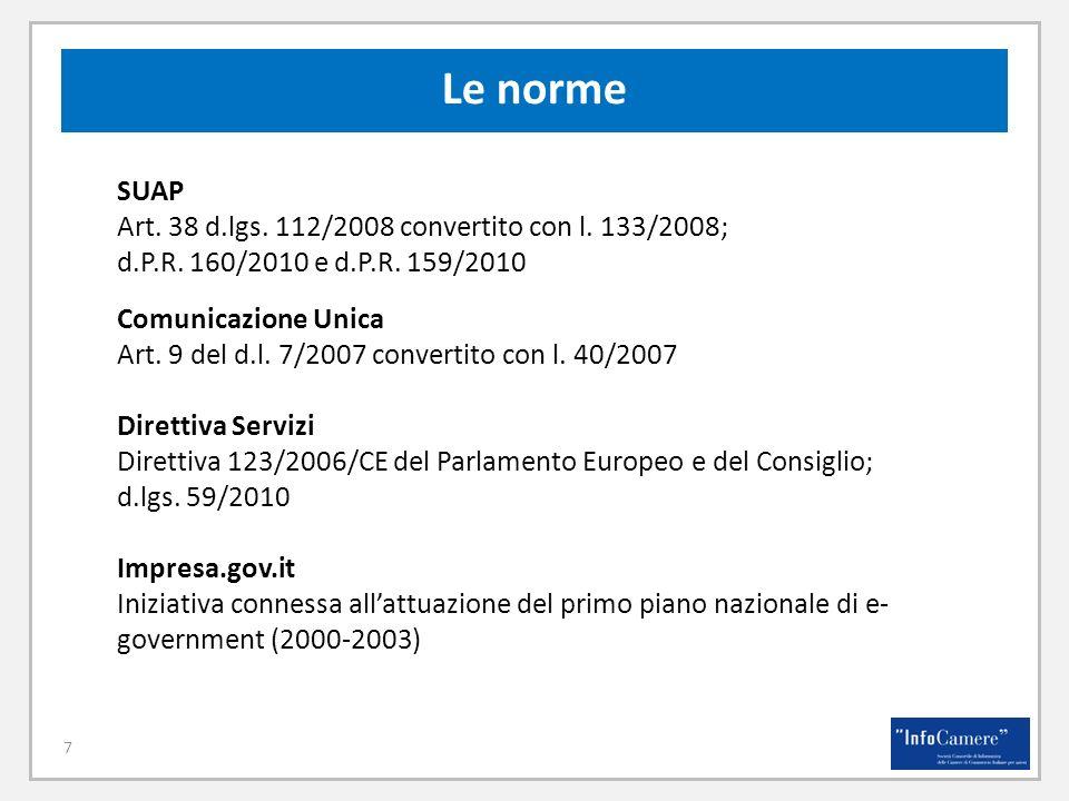 7 Le norme SUAP Art. 38 d.lgs. 112/2008 convertito con l. 133/2008; d.P.R. 160/2010 e d.P.R. 159/2010 Comunicazione Unica Art. 9 del d.l. 7/2007 conve
