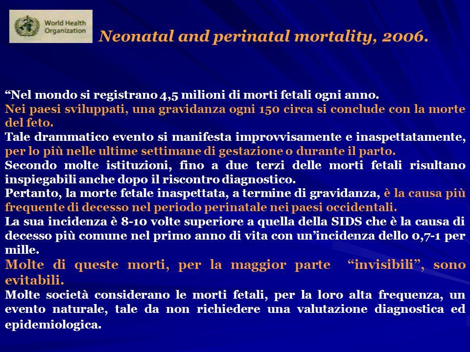 Neonatal and perinatal mortality, 2006. Nel mondo si registrano 4,5 milioni di morti fetali ogni anno. Nei paesi sviluppati, una gravidanza ogni 150 c