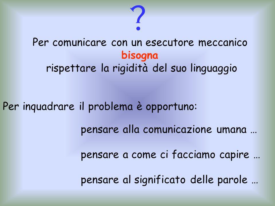 Per comunicare con un esecutore meccanico bisogna rispettare la rigidità del suo linguaggio pensare alla comunicazione umana … pensare a come ci facci