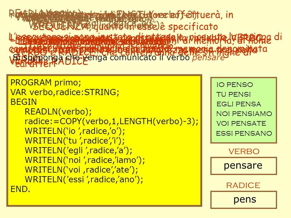 Acquisite le istruzioni lesecutore effettuerà, in SEQUENZA, quanto in esse è specificato PROGRAM primo; VAR verbo,radice:STRING; BEGIN READLN(verbo);