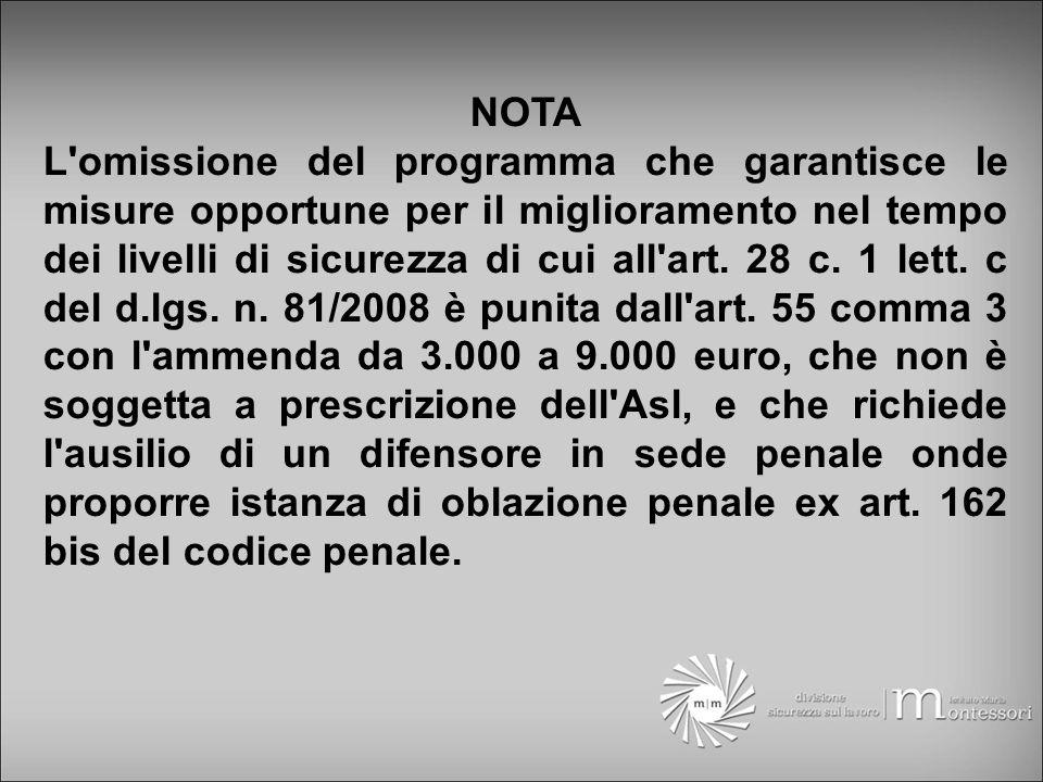 NOTA L omissione del programma che garantisce le misure opportune per il miglioramento nel tempo dei livelli di sicurezza di cui all art.