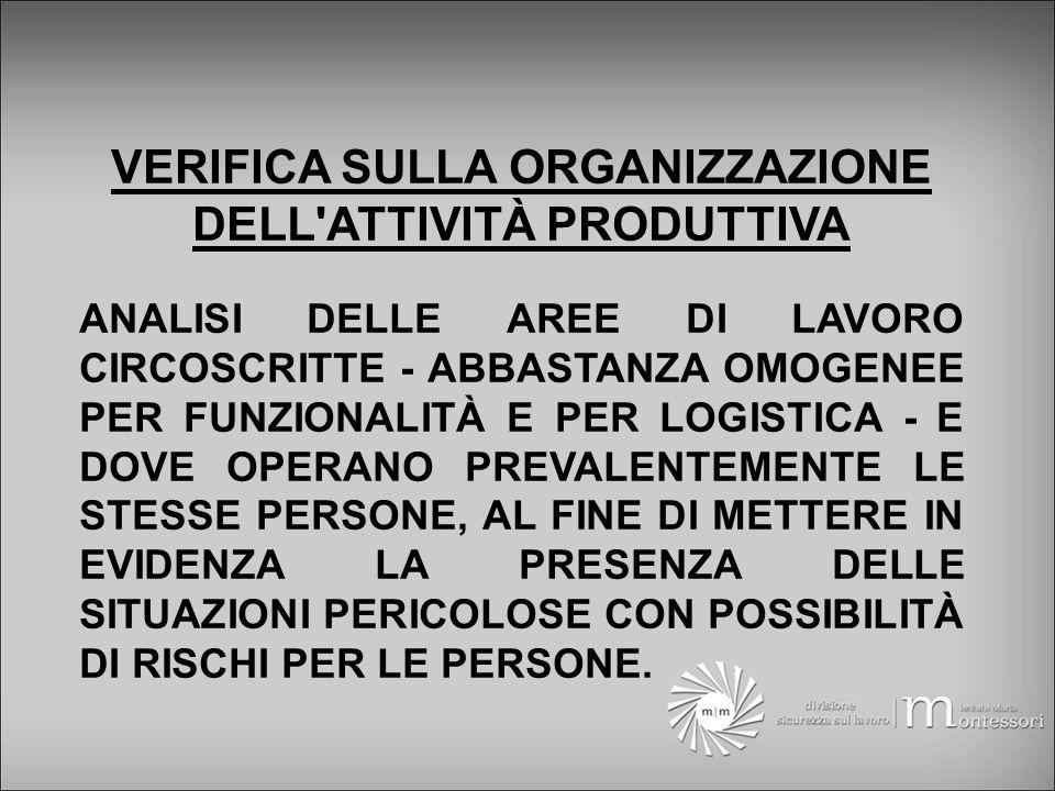 VERIFICA SULLA ORGANIZZAZIONE DELL ATTIVITÀ PRODUTTIVA ANALISI DELLE AREE DI LAVORO CIRCOSCRITTE - ABBASTANZA OMOGENEE PER FUNZIONALITÀ E PER LOGISTICA - E DOVE OPERANO PREVALENTEMENTE LE STESSE PERSONE, AL FINE DI METTERE IN EVIDENZA LA PRESENZA DELLE SITUAZIONI PERICOLOSE CON POSSIBILITÀ DI RISCHI PER LE PERSONE.