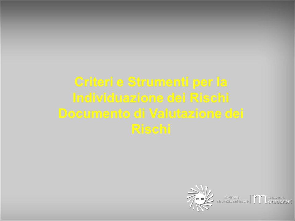 Criteri e Strumenti per la Individuazione dei Rischi Documento di Valutazione dei Rischi