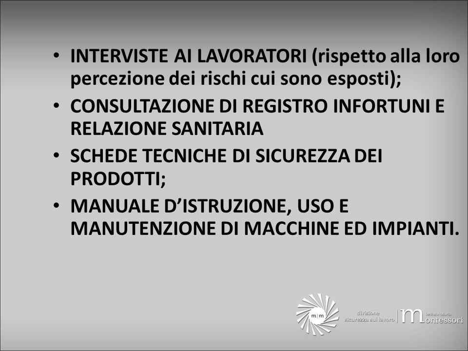 INTERVISTE AI LAVORATORI (rispetto alla loro percezione dei rischi cui sono esposti); CONSULTAZIONE DI REGISTRO INFORTUNI E RELAZIONE SANITARIA SCHEDE TECNICHE DI SICUREZZA DEI PRODOTTI; MANUALE DISTRUZIONE, USO E MANUTENZIONE DI MACCHINE ED IMPIANTI.