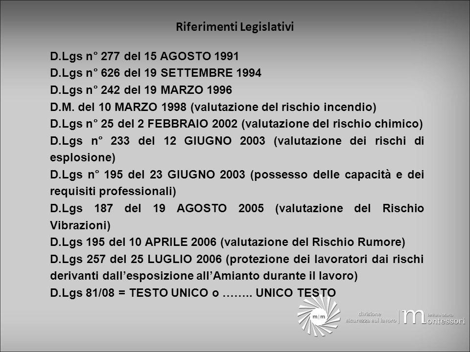 D.Lgs n° 277 del 15 AGOSTO 1991 D.Lgs n° 626 del 19 SETTEMBRE 1994 D.Lgs n° 242 del 19 MARZO 1996 D.M.