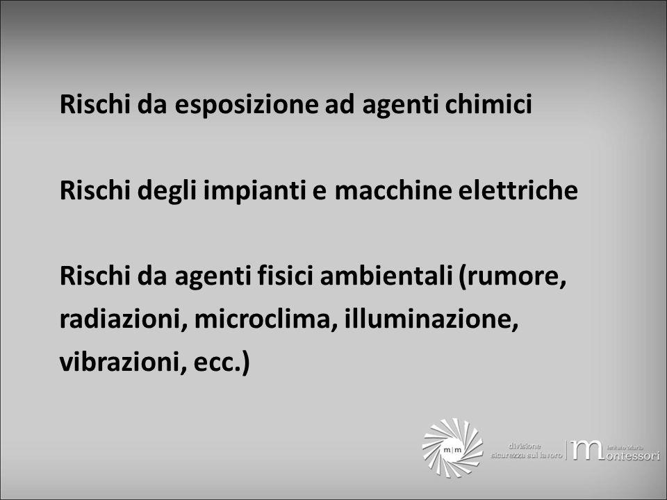 Rischi da esposizione ad agenti chimici Rischi degli impianti e macchine elettriche Rischi da agenti fisici ambientali (rumore, radiazioni, microclima, illuminazione, vibrazioni, ecc.)