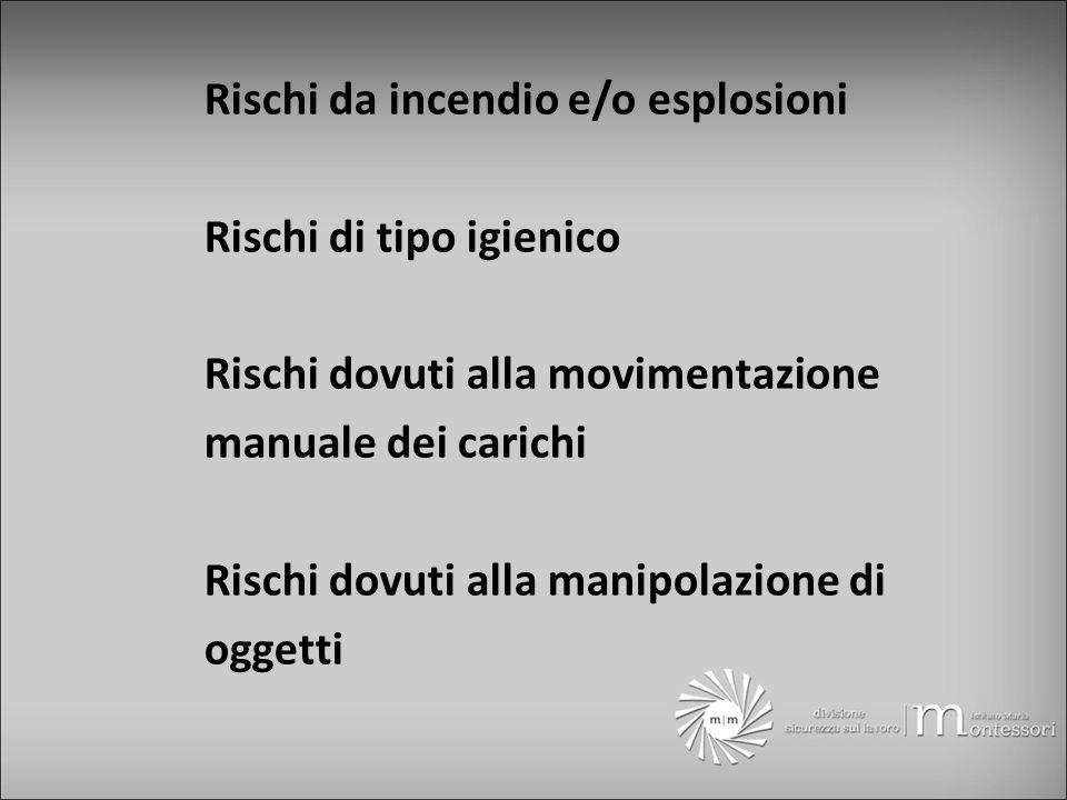 Rischi da incendio e/o esplosioni Rischi di tipo igienico Rischi dovuti alla movimentazione manuale dei carichi Rischi dovuti alla manipolazione di oggetti