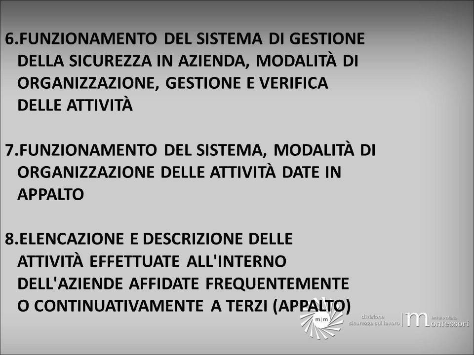 6.FUNZIONAMENTO DEL SISTEMA DI GESTIONE DELLA SICUREZZA IN AZIENDA, MODALITÀ DI ORGANIZZAZIONE, GESTIONE E VERIFICA DELLE ATTIVITÀ 7.FUNZIONAMENTO DEL SISTEMA, MODALITÀ DI ORGANIZZAZIONE DELLE ATTIVITÀ DATE IN APPALTO 8.ELENCAZIONE E DESCRIZIONE DELLE ATTIVITÀ EFFETTUATE ALL INTERNO DELL AZIENDE AFFIDATE FREQUENTEMENTE O CONTINUATIVAMENTE A TERZI (APPALTO)