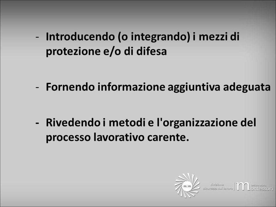 -Introducendo (o integrando) i mezzi di protezione e/o di difesa -Fornendo informazione aggiuntiva adeguata -Rivedendo i metodi e l organizzazione del processo lavorativo carente.