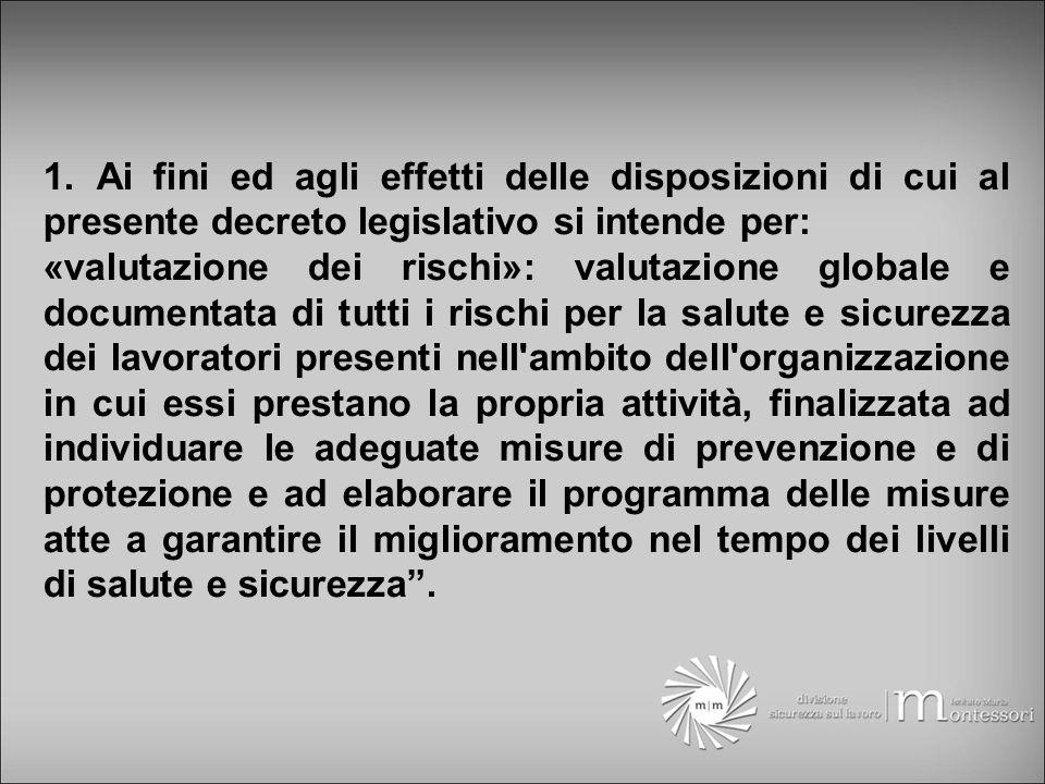 1. Ai fini ed agli effetti delle disposizioni di cui al presente decreto legislativo si intende per: «valutazione dei rischi»: valutazione globale e d