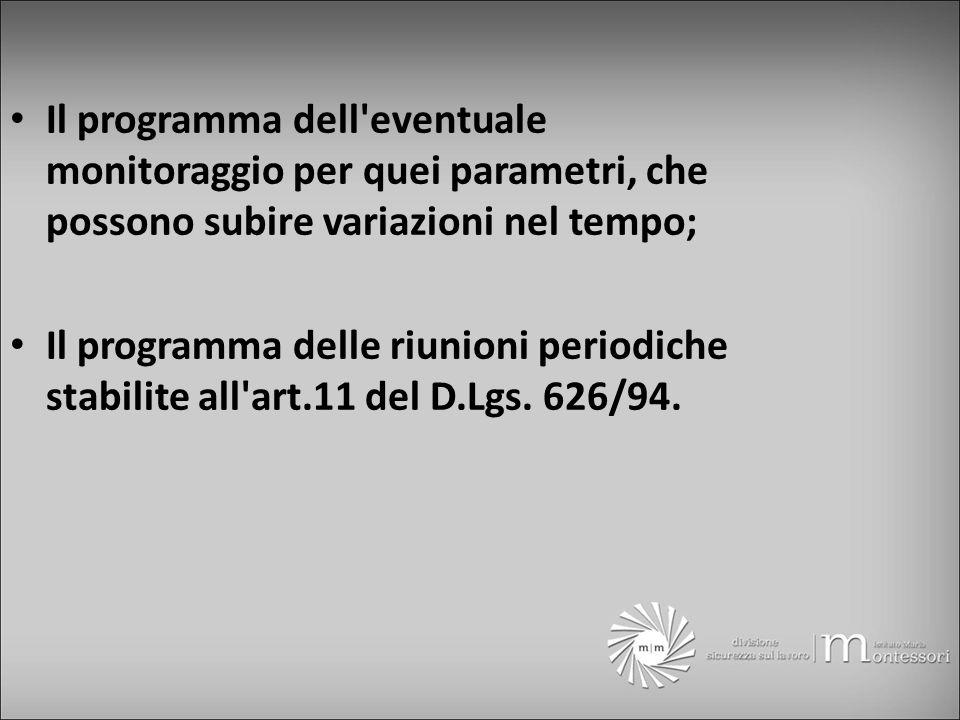 Il programma dell eventuale monitoraggio per quei parametri, che possono subire variazioni nel tempo; Il programma delle riunioni periodiche stabilite all art.11 del D.Lgs.