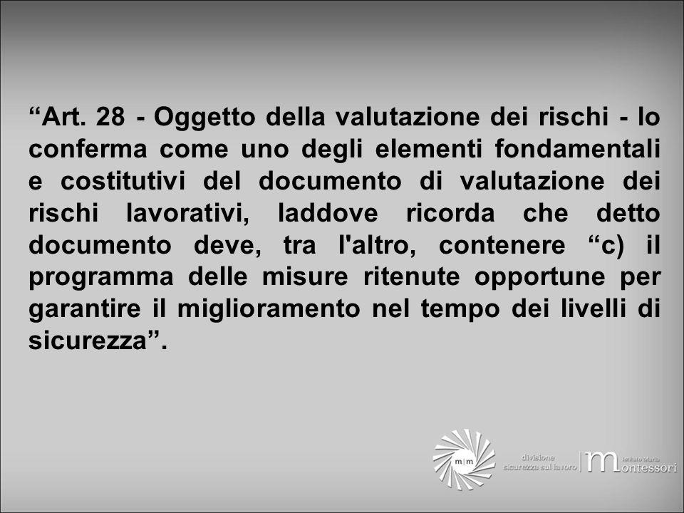 Art. 28 - Oggetto della valutazione dei rischi - lo conferma come uno degli elementi fondamentali e costitutivi del documento di valutazione dei risch