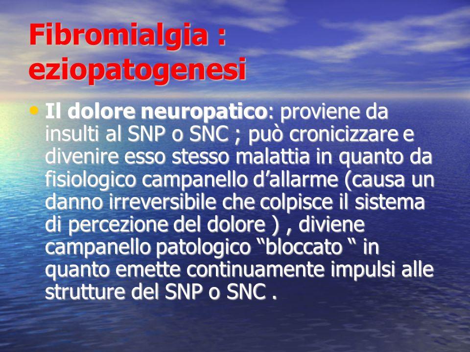 Fibromialgia : eziopatogenesi Il dolore neuropatico: proviene da insulti al SNP o SNC ; può cronicizzare e divenire esso stesso malattia in quanto da fisiologico campanello dallarme (causa un danno irreversibile che colpisce il sistema di percezione del dolore ), diviene campanello patologico bloccato in quanto emette continuamente impulsi alle strutture del SNP o SNC.