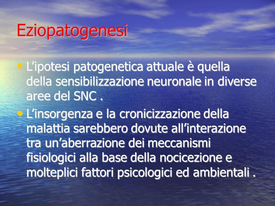 Eziopatogenesi Lipotesi patogenetica attuale è quella della sensibilizzazione neuronale in diverse aree del SNC.