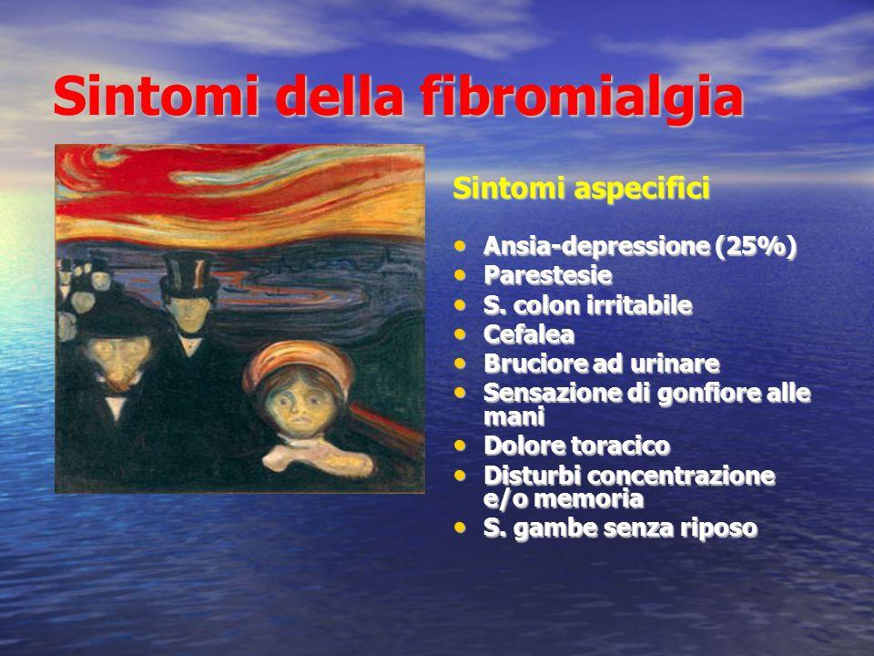 Sintomi della fibromialgia Sintomi aspecifici Ansia-depressione (25%) Ansia-depressione (25%) Parestesie Parestesie S.
