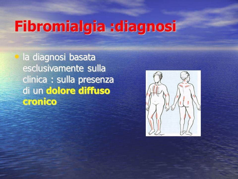 Fibromialgia :diagnosi la diagnosi basata esclusivamente sulla clinica : sulla presenza di un dolore diffuso cronico la diagnosi basata esclusivamente sulla clinica : sulla presenza di un dolore diffuso cronico