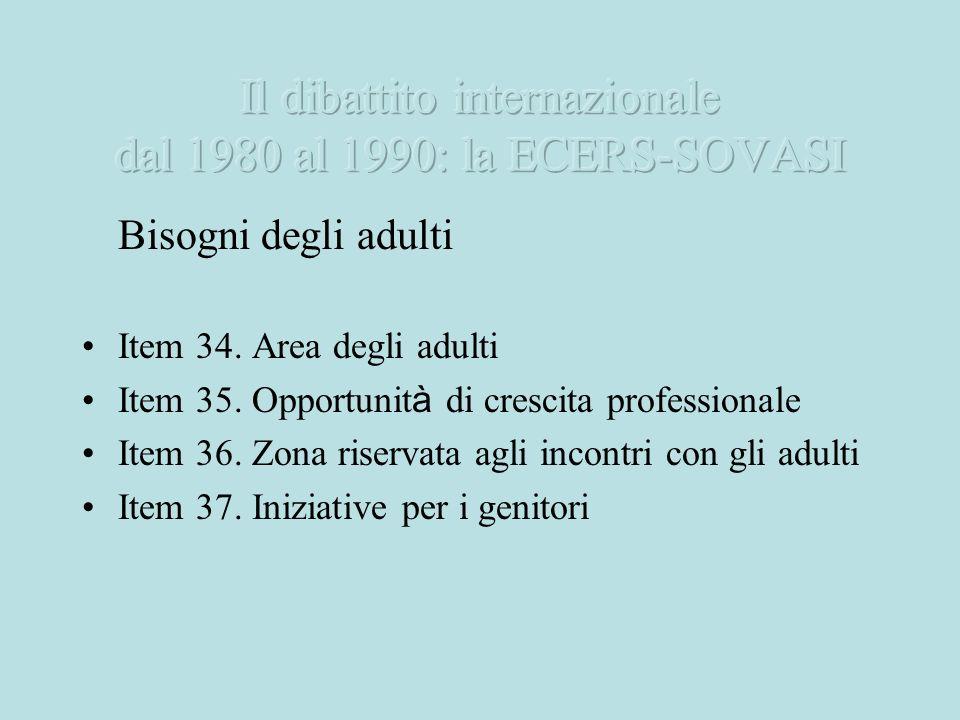 Bisogni degli adulti Item 34. Area degli adulti Item 35. Opportunit à di crescita professionale Item 36. Zona riservata agli incontri con gli adulti I