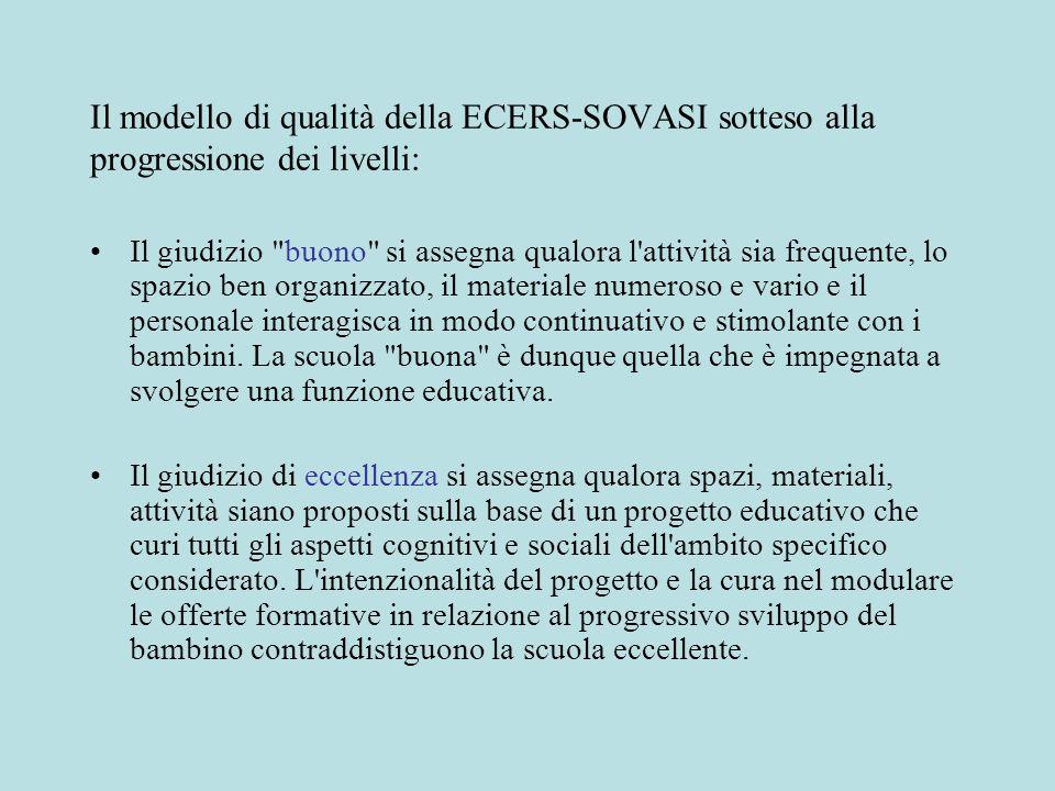 Il modello di qualità della ECERS-SOVASI sotteso alla progressione dei livelli: Il giudizio