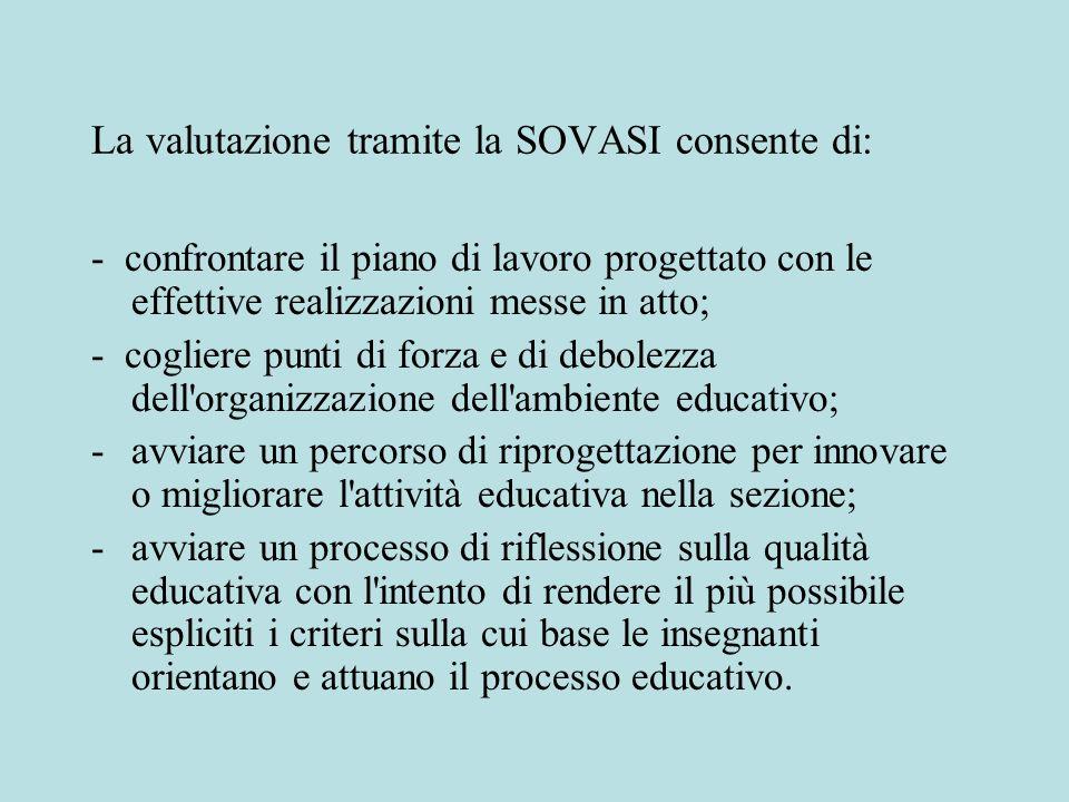 La valutazione tramite la SOVASI consente di: - confrontare il piano di lavoro progettato con le effettive realizzazioni messe in atto; - cogliere pun