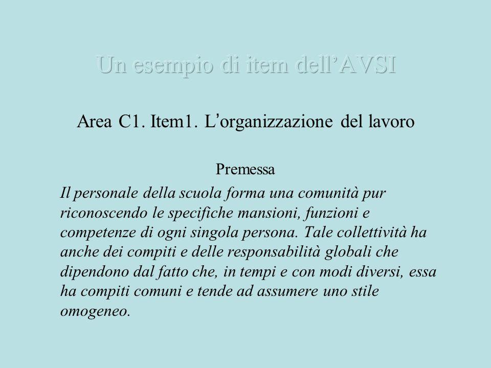 Area C1. Item1. L organizzazione del lavoro Premessa Il personale della scuola forma una comunità pur riconoscendo le specifiche mansioni, funzioni e