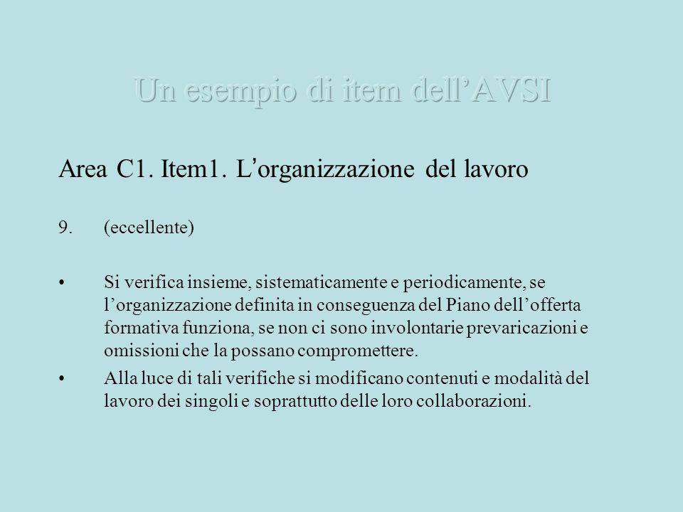 Area C1. Item1. L organizzazione del lavoro 9.(eccellente) Si verifica insieme, sistematicamente e periodicamente, se lorganizzazione definita in cons