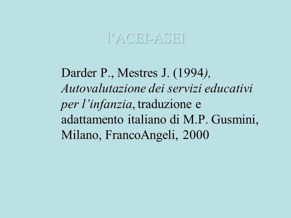 Darder P., Mestres J. (1994), Autovalutazione dei servizi educativi per linfanzia, traduzione e adattamento italiano di M.P. Gusmini, Milano, FrancoAn