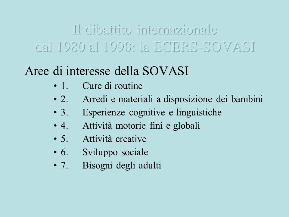 Aree di interesse della SOVASI 1.Cure di routine 2.Arredi e materiali a disposizione dei bambini 3.Esperienze cognitive e linguistiche 4.Attività moto