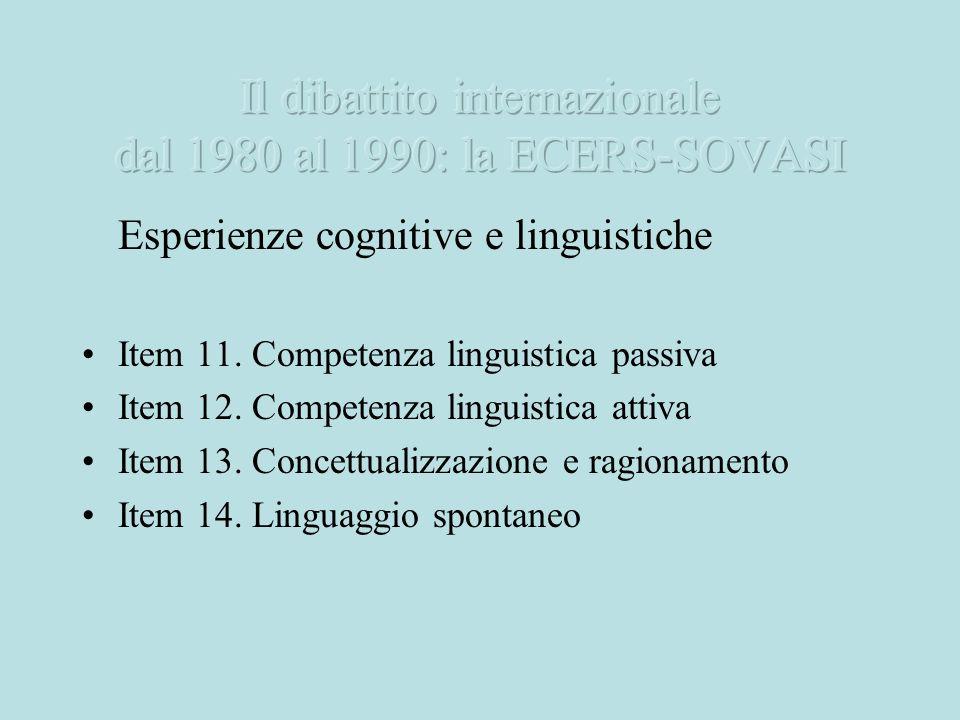 Esperienze cognitive e linguistiche Item 11. Competenza linguistica passiva Item 12. Competenza linguistica attiva Item 13. Concettualizzazione e ragi