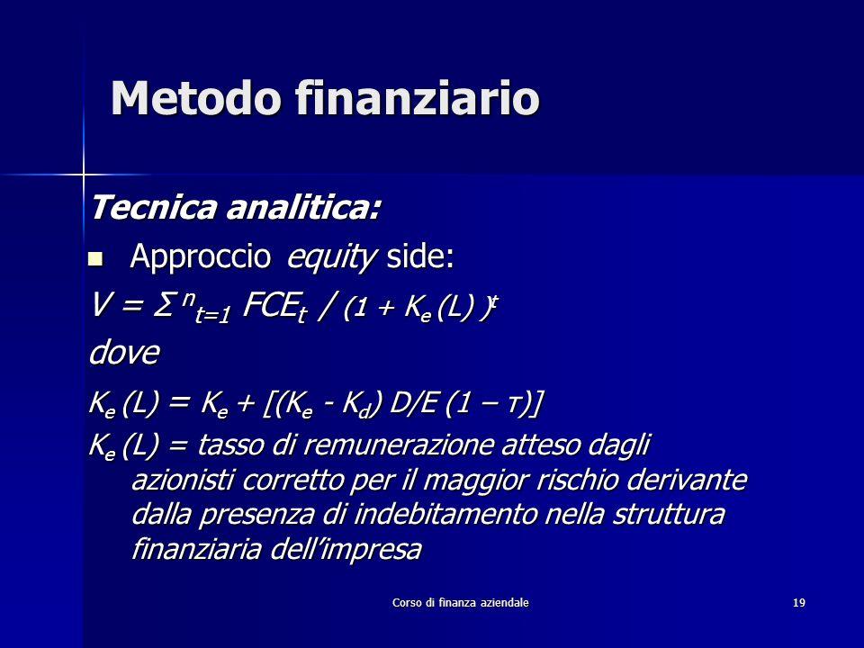 Corso di finanza aziendale 19 Metodo finanziario Tecnica analitica: Approccio equity side: Approccio equity side: V = Σ n t=1 FCE t / (1 + K e (L) ) t