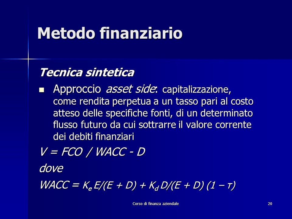 Corso di finanza aziendale 20 Metodo finanziario Tecnica sintetica Approccio asset side: capitalizzazione, come rendita perpetua a un tasso pari al co