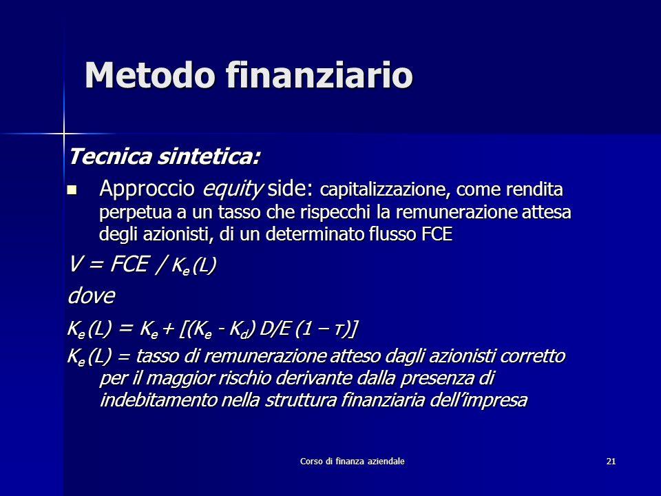 Corso di finanza aziendale 21 Metodo finanziario Tecnica sintetica: Approccio equity side: capitalizzazione, come rendita perpetua a un tasso che risp