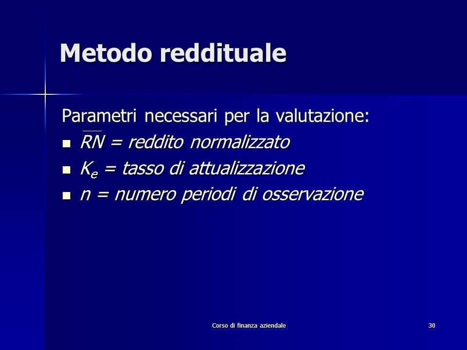 Corso di finanza aziendale 30 Metodo reddituale Parametri necessari per la valutazione: RN = reddito normalizzato RN = reddito normalizzato K e = tass
