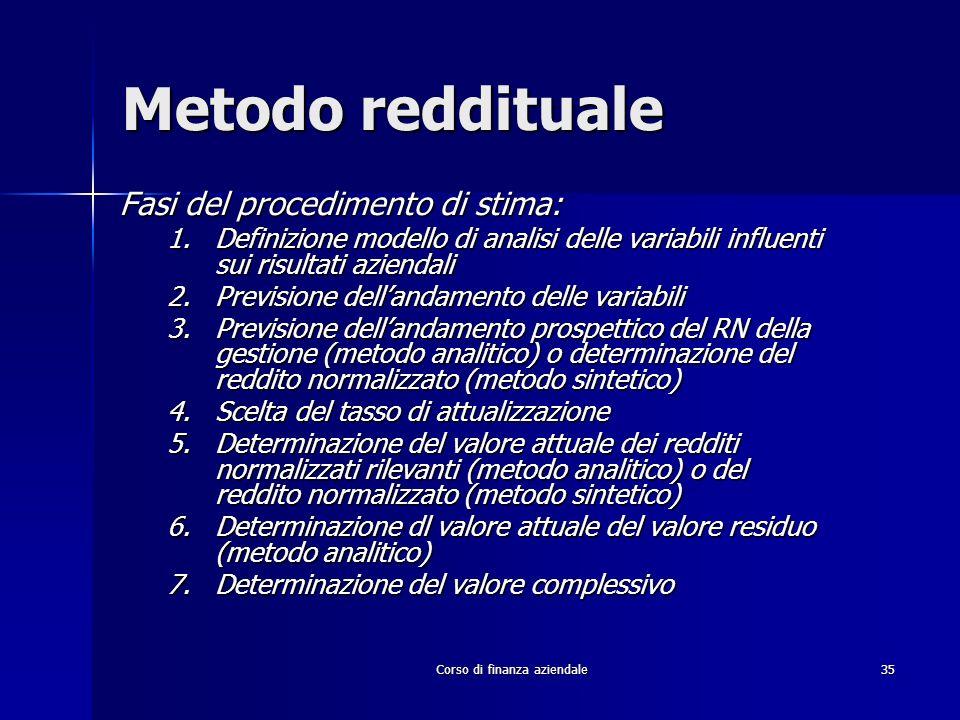 Corso di finanza aziendale 35 Metodo reddituale Fasi del procedimento di stima: 1.Definizione modello di analisi delle variabili influenti sui risulta