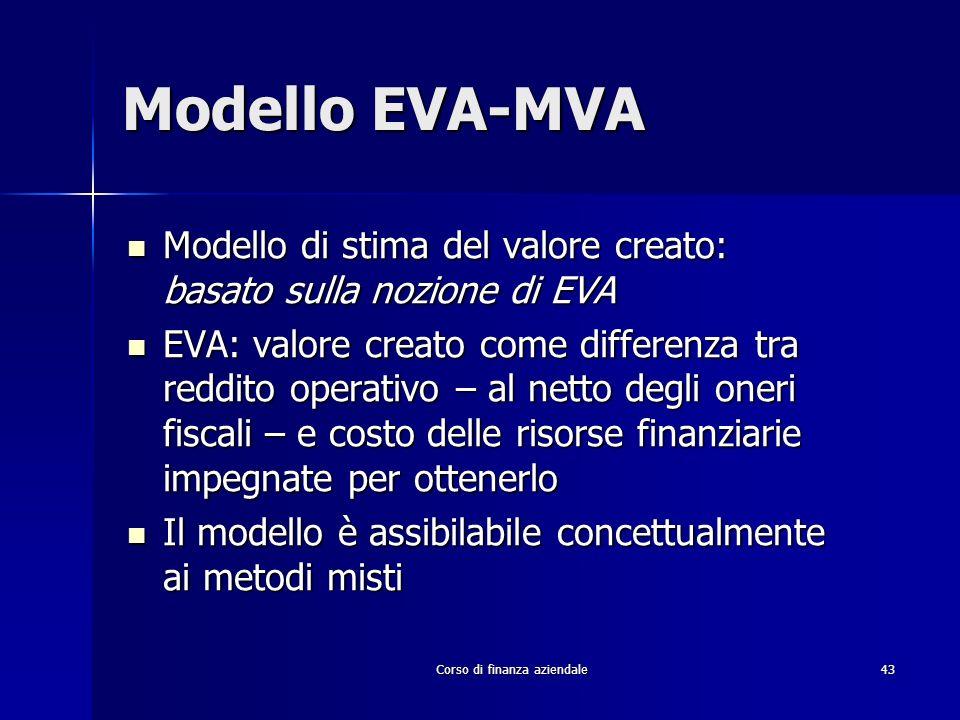 Corso di finanza aziendale 43 Modello EVA-MVA Modello di stima del valore creato: basato sulla nozione di EVA Modello di stima del valore creato: basa