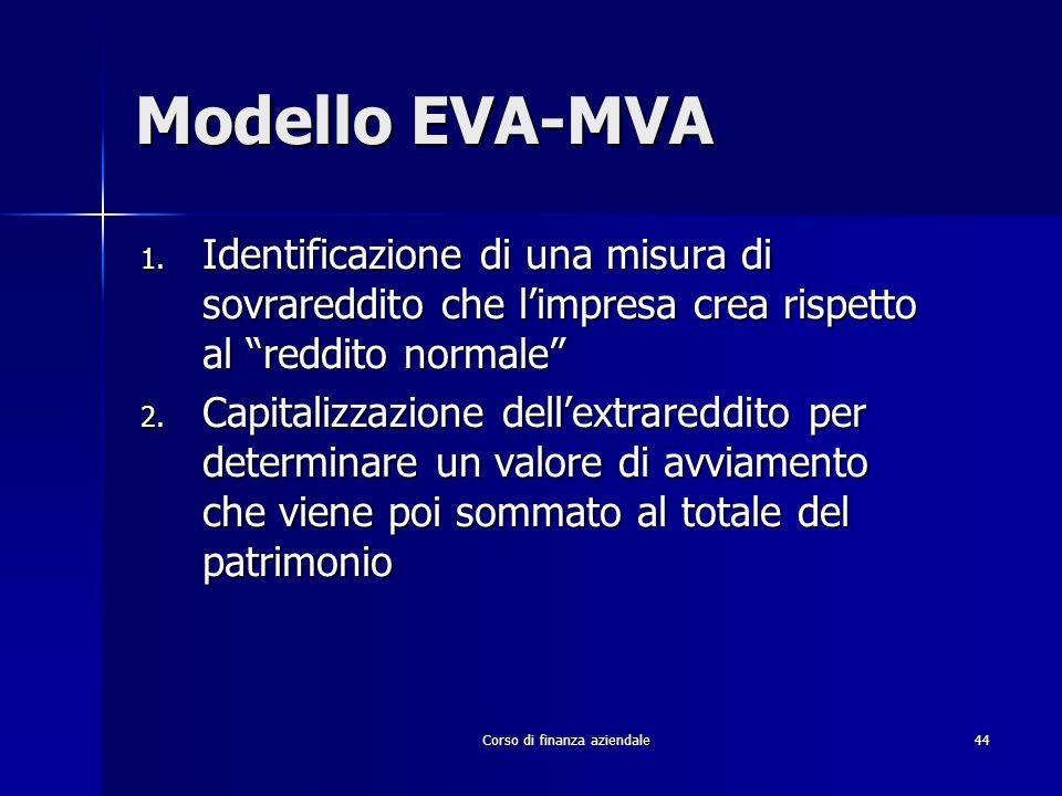 Corso di finanza aziendale 44 Modello EVA-MVA 1. Identificazione di una misura di sovrareddito che limpresa crea rispetto al reddito normale 2. Capita