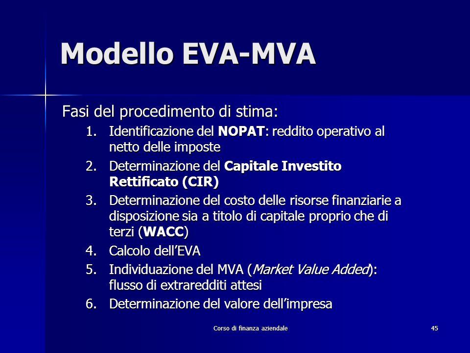 Corso di finanza aziendale 45 Modello EVA-MVA Fasi del procedimento di stima: 1.Identificazione del NOPAT: reddito operativo al netto delle imposte 2.