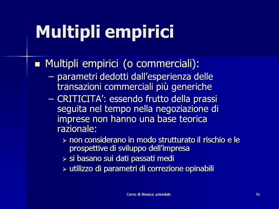 Corso di finanza aziendale 51 Multipli empirici Multipli empirici (o commerciali): Multipli empirici (o commerciali): –parametri dedotti dallesperienz