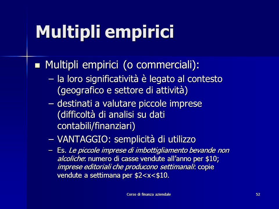Corso di finanza aziendale 52 Multipli empirici Multipli empirici (o commerciali): Multipli empirici (o commerciali): –la loro significatività è legat