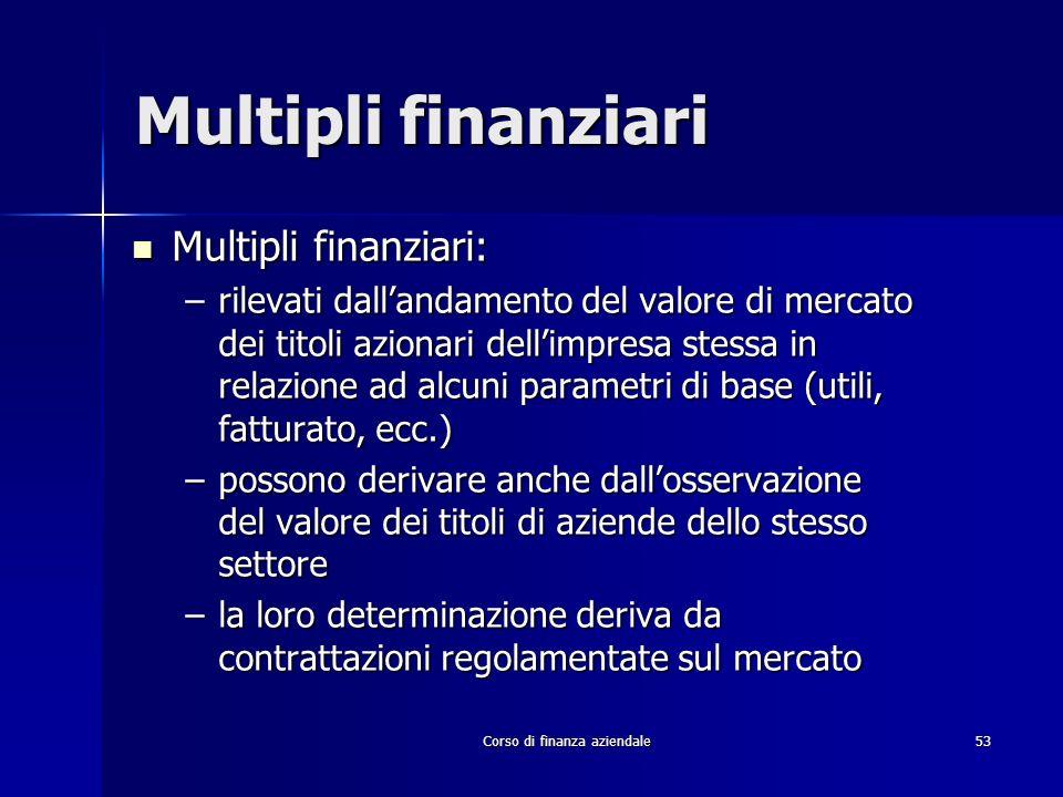 Corso di finanza aziendale 53 Multipli finanziari Multipli finanziari: Multipli finanziari: –rilevati dallandamento del valore di mercato dei titoli a